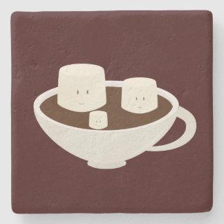 Melcochas sonrientes en chocolate caliente posavasos de piedra