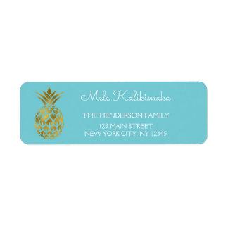 Mele Kalikimaka Blue and Gold Pineapple Christmas Label