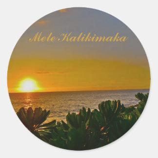 Mele Kalikimaka Christmas in the Tropics Classic Round Sticker