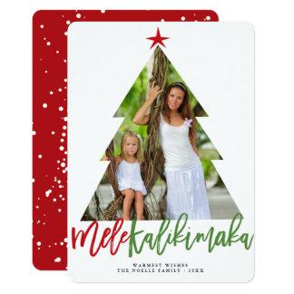 Mele Kalikimaka Christmas Tree Cutout Photo Card