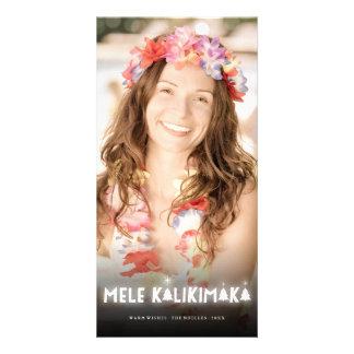 Mele Kalikimaka Christmas Trees Glow Photo Card