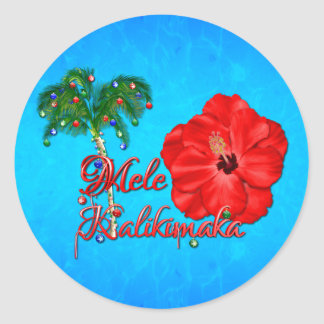 Mele Kalikimaka Classic Round Sticker