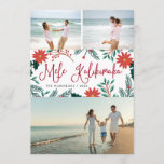 """Mele Kalikimaka   Hawaiian Christmas Photo Collage Holiday Card<br><div class=""""desc"""">Send holiday greetings to friends and family, island-style, with our tropical holiday photo cards. Design features three favorite photos with the Hawaiian Christmas greeting """"Mele Kalikimaka"""" in the center in red hand lettered typography, flanked by vibrant red poinsettia flowers and holly leaves. Personalize with your names and the year beneath....</div>"""