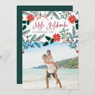 Couples Mele Kalikimaka | Hawaiian Christmas Photo Holiday Card