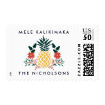 Mele Kalikimaka   Hawaiian Christmas Pineapple Postage<br><div class='desc'>Festive holiday postage stamp features your custom greeting at the top (shown with the Hawaiian Christmas greeting &quot;Mele Kalikimaka&quot;),  and your names or family name along the bottom. A festive pineapple takes center stage,  flanked with Christmas greenery,  red poinsettia flowers and holly leaves.</div>