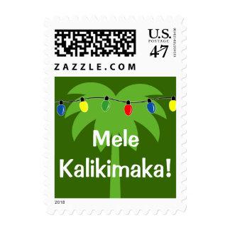 Mele Kalikimaka Hawaiian Christmas postage stamps