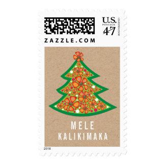 Mele Kalikimaka Hibiscus Tree Fun Christmas Stamps