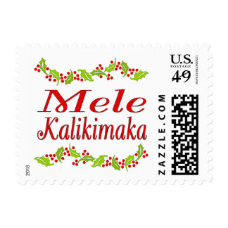 Mele Kalikimaka holly Hawaii Christmas stamps