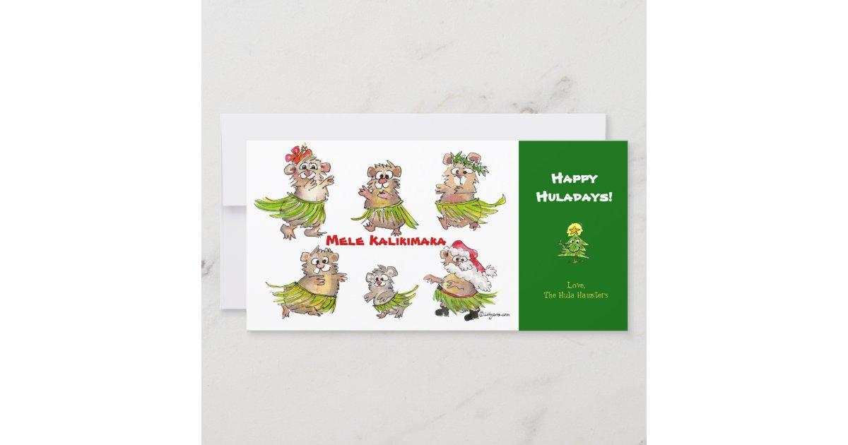 Mele Kalikimaka Hula Hamsters Christmas Card | Zazzle.com