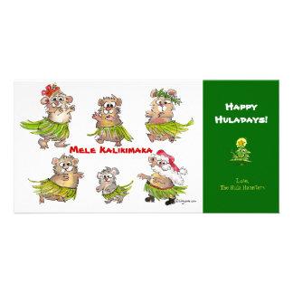 Mele Kalikimaka Hula Hamsters Christmas Card