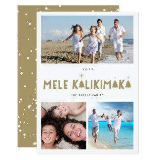 Mele Kalikimaka Modern Holiday Photo Collage Card