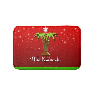Mele Kalikimaka Palm Tree for Xmas Bath Mat