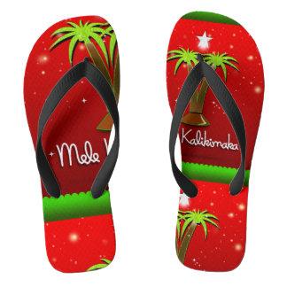 Mele Kalikimaka Palm Tree for Xmas Flip Flops