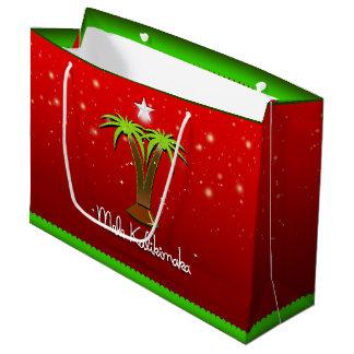 Mele Kalikimaka Palm Tree for Xmas Large Gift Bag