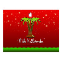 Mele Kalikimaka Palm Tree for Xmas Postcard