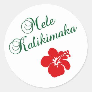 Mele Kalikimaka Pegatina Redonda