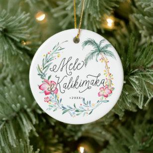 Mele Kalikimaka 2020 Christmas Ornament Hawaiian Holiday Ornament Clear Acrylic Hawaii Ornament Tropical Christmas Gift