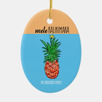 Mele Kalikimaka Pineapple Ceramic Ornament