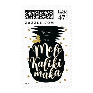 Beach Themed Mele Kalikimaka Pineapple Christmas Holiday Card Postage