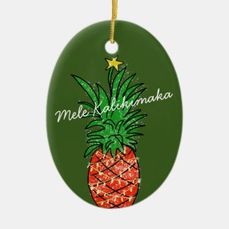 Mele Kalikimaka Pineapple Christmas Tree Ceramic Ornament