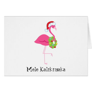 Mele Kalikimaka Pink Flamingo Christmas Card