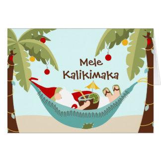 Mele Kalikimaka Santa tropical Felicitaciones