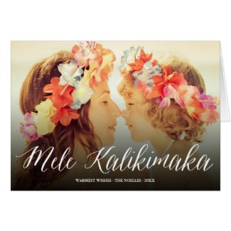 Mele Kalikimaka Script Modern Holiday Photo Card