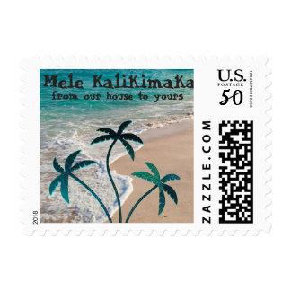 Mele Kalikimaka tropical Beach Postage