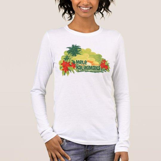 Mele Kalikimaka Tropical Island Hawaiian Christmas Long Sleeve T-Shirt