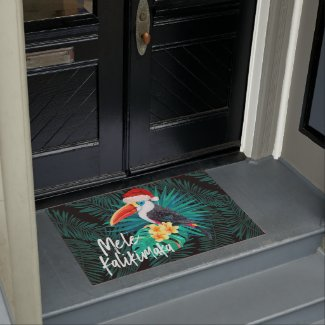 Mele Kalikimaka Tropical Jungle Birds Doormat