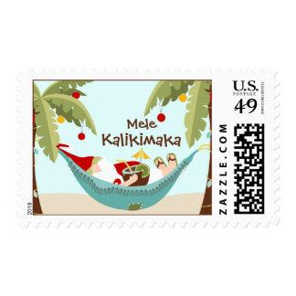 Mele Kalikimaka Tropical Santa Postage Stamp