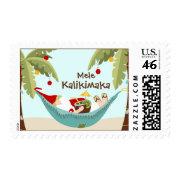 Mele Kalikimaka Tropical Santa Stamps