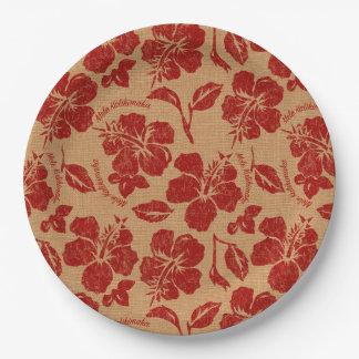 Mele Kalikimaka Vintage Pareau Hawaiian Hibiscus Paper Plate
