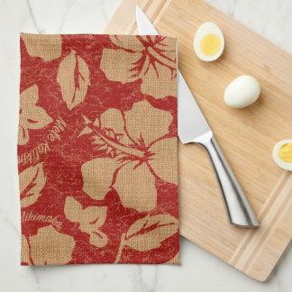 Mele Kalikimaka Vintage Pareau Hawaiian Hibiscus Towel