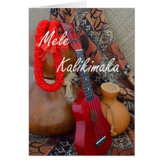 Mele Kalikimaka with Red Ribbon Lei Greeting Card
