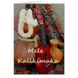 Mele Kalikimaka with White Ribbon Lei Greeting Card