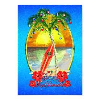 Mele Kalikimakai Hawaiian Beach Christmas Card