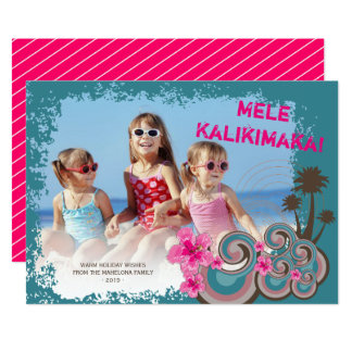 Mele Kalimaka Hibiscus Palm Trees Christmas Card
