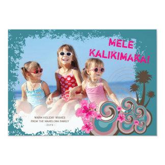 Mele Kalimaka Hibiscus Palm Trees Christmas Card