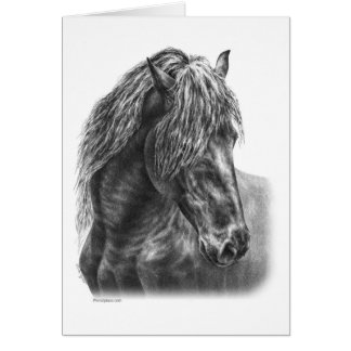 Melena ondulada del retrato frisio del caballo tarjeta de felicitación