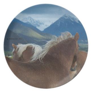 Melenas y placa de las montañas plato de comida