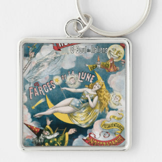 Melies ~ French Magician Vintage Magic Act Silver-Colored Square Keychain