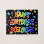 "[ Thumbnail: ""Melinda"" First Name, Fun ""Happy Birthday"" Jigsaw Puzzle ]"