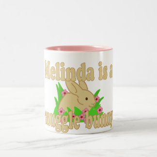 Melinda is a Snuggle Bunny Two-Tone Coffee Mug