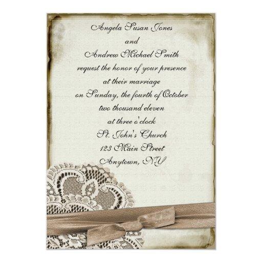 """Melinda Vintage Lace Invitation 5"""" X 7"""" Invitation Card"""