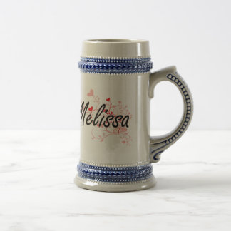 Melissa Artistic Name Design with Hearts 18 Oz Beer Stein