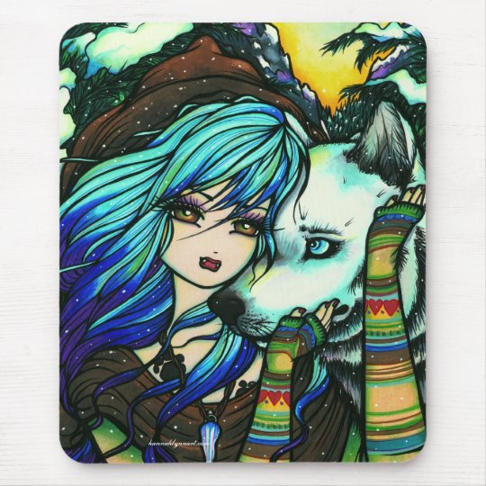 """Melissa"" Vampire Wolf Fantasy Forest Art Mouse Pad"
