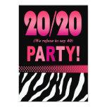 Melissa's Fabulous 20/20 Zebra Birthday Party Card