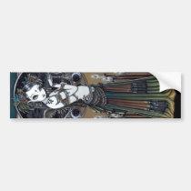 tribal, fusion, belly, dancer, angel, thunder, storm, lightning, city, scape, candels, singing, bowl, dance, gothic, henna, tattoo, fairy, jewerly, goddess, faery, fae, faerie, fairies, fantasy, melita, myka, jelina, art, Bumper Sticker with custom graphic design