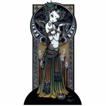 tribal, fusion, belly, dancer, angel, thunder, storm, lightning, city, scape, candels, singing, bowl, dance, gothic, henna, tattoo, fairy, jewerly, goddess, faery, fae, faerie, fairies, fantasy, myka, jelina, art, middle eastern, Photo Sculpture with custom graphic design